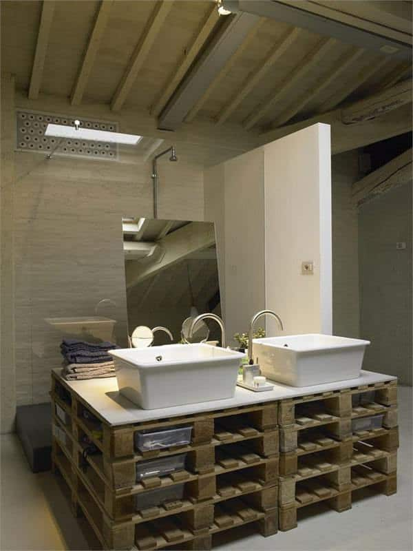 Pallet as Functional Furniture in a Loft Pallet Boxes & Chests