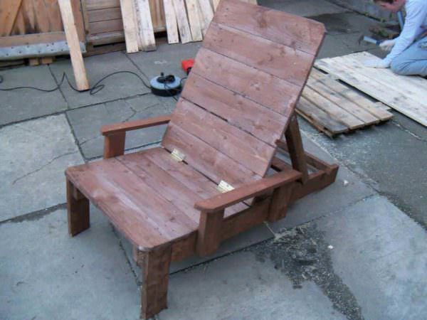 Rustic Reclining Garden Pallet Sun Lounger Pallet Benches, Pallet Chairs & Stools