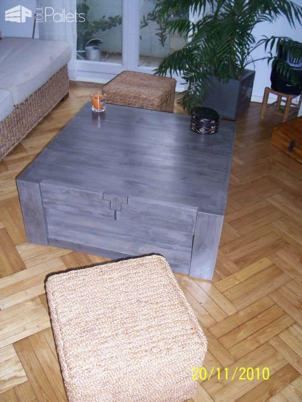 Pallet Coffee Table With Drawers Pallet Coffee Tables