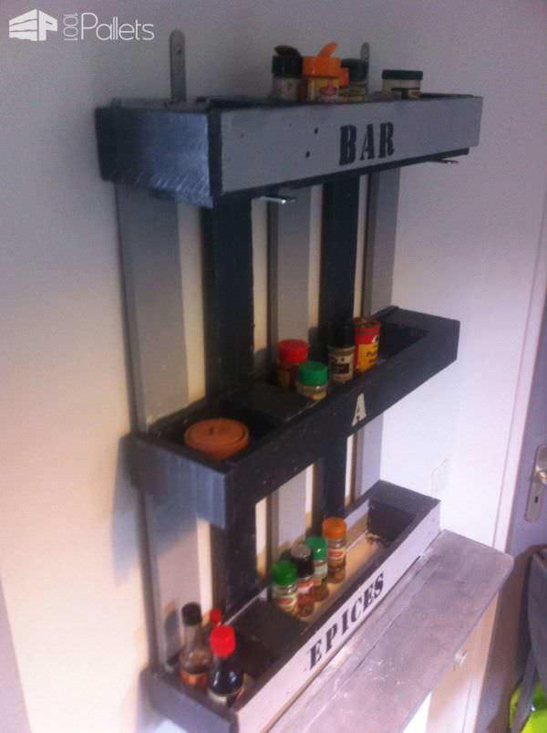 Kitchen Pallet Shelf For Spices Pallet Shelves & Pallet Coat Hangers