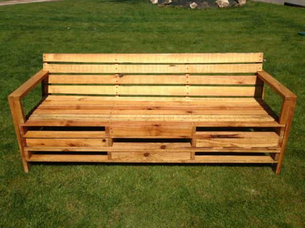 Outdoor Bench Made With 2 Meters Pallets Pallet Benches, Pallet Chairs & Stools