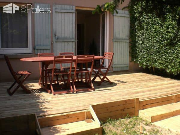 Terrace Made Of Reclaimed Printing Pallets Pallet Terraces & Pallet Patios