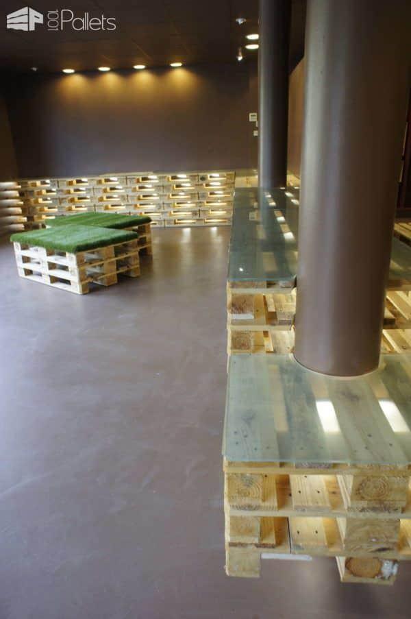 Comptoir & Assises En Palettes / Counter & Seats From Pallets Pallet Store, Bar & Restaurant Decorations