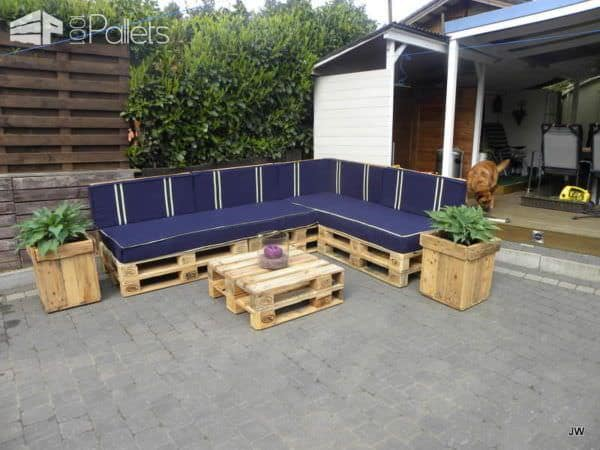 Outdoor Sofa Set From Repurposed Pallets Lounges & Garden Sets