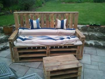 Pallets Terrace Bench & Table – Terrasse D'appartement En Palettes Lounges & Garden Sets