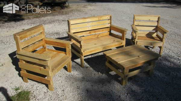 Complete Garden Set From Repurposed Pallets Lounges & Garden Sets Pallet Benches, Pallet Chairs & Stools