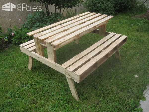 Garden Picnic Table Made With Discarded Pallets Pallet Desks & Pallet Tables
