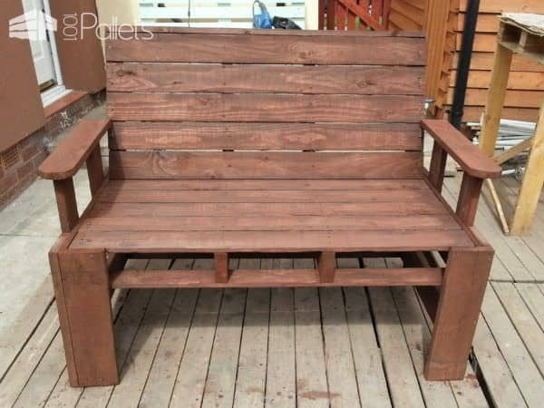 Two Seater Garden Bench From Pallets Pallet Benches, Pallet Chairs & Stools