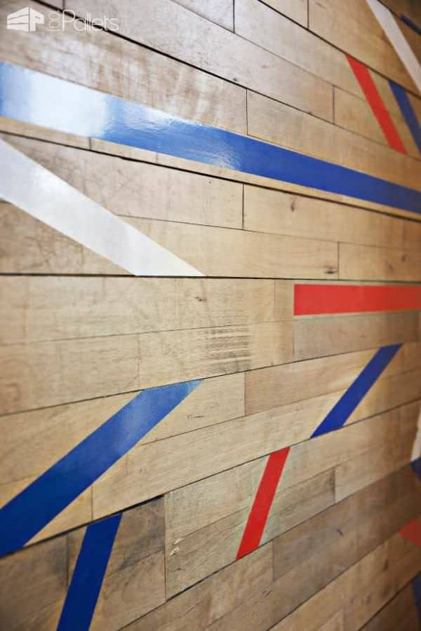Wall Decoration Made Out Of A Repurposed Gym Floor Pallet Walls & Pallet Doors