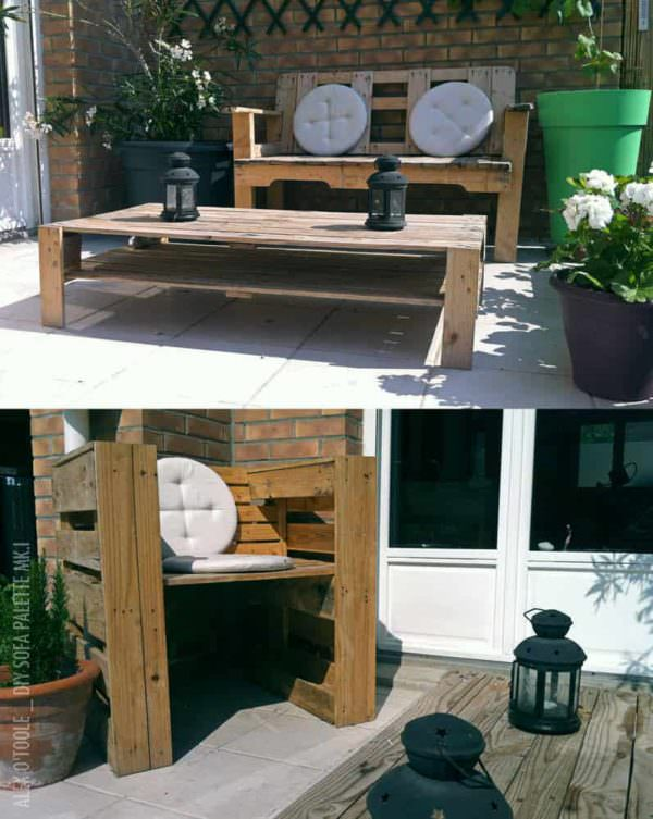 Garden Sofa From Pallets Pallet Coffee Tables Pallet Sofas & Couches