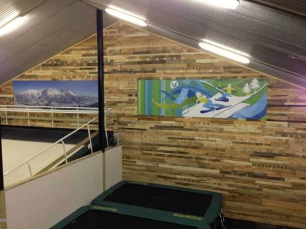 New Wall At An Indoor Ski-school In Holland Pallet Walls & Pallet Doors