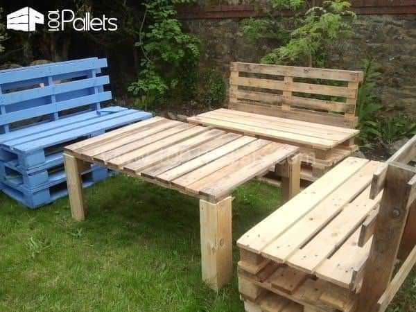 Salon De Jardin / First Try For a Garden Set Pallet Benches, Pallet Chairs & Stools Pallet Desks & Pallet Tables