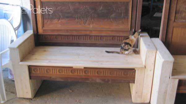 Old Bed Transformed Into Benches Using Pallets Pallet Benches, Pallet Chairs & Stools