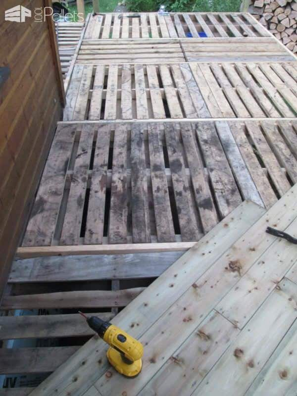 Balcony Frame With Recycled Pallets Pallet Floors & Decks Pallet Terraces & Pallet Patios