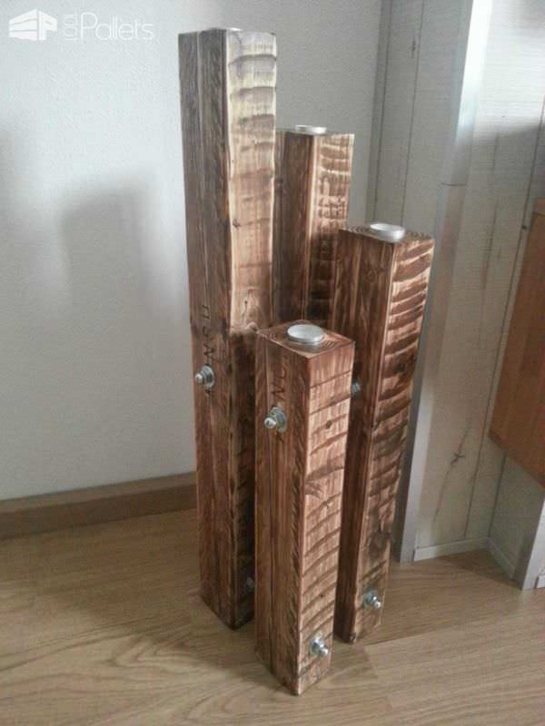 Chandelier Made Out Of Recycled Pallets Pallet Candle Holders