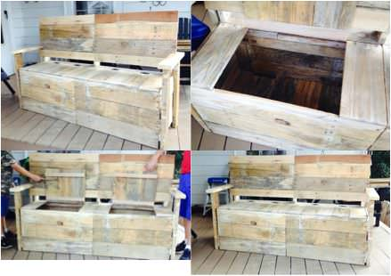 From 5 Pallets To 1 Great Bench With Storage Pallet Benches, Pallet Chairs & Stools