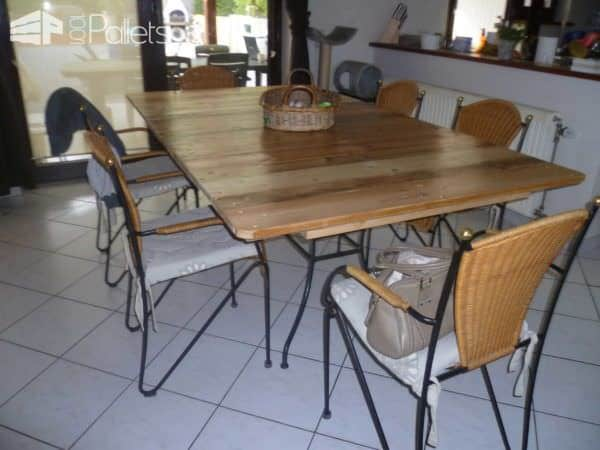 My New Dining Room Pallet Table / Ma Nouvelle Table De Salle A Manger Pallet Desks & Pallet Tables