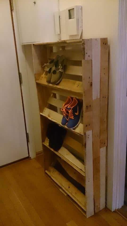 Pallet Shoe Shelf Pallet Shelves & Pallet Coat Hangers