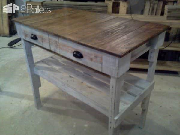 Distressed Pallet 'kitchen Island' Pallet Desks & Pallet Tables