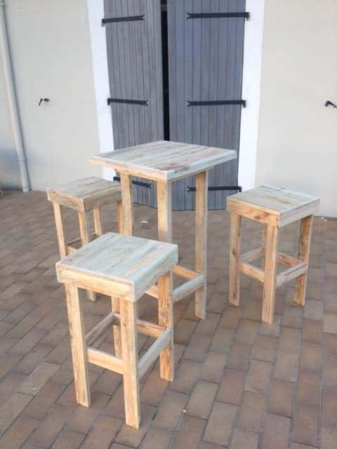 Mange Debout Et Tabourets Hauts En Palettes Lounges & Garden Sets Pallet Desks & Pallet Tables