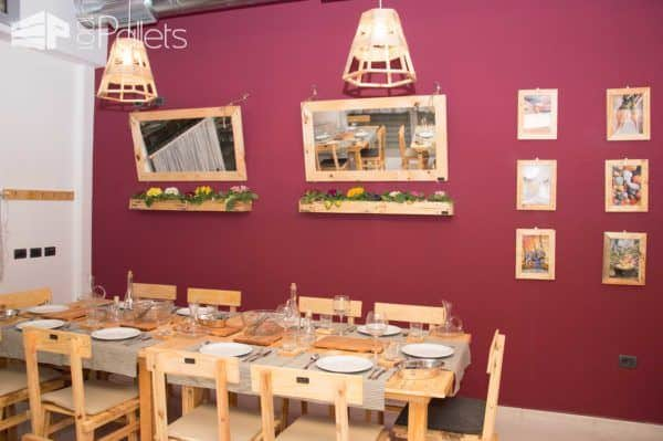 Restaurant Made From Pallets and Other Reclaimed Wood – Design by Pana Pallet Store, Bar & Restaurant Decorations