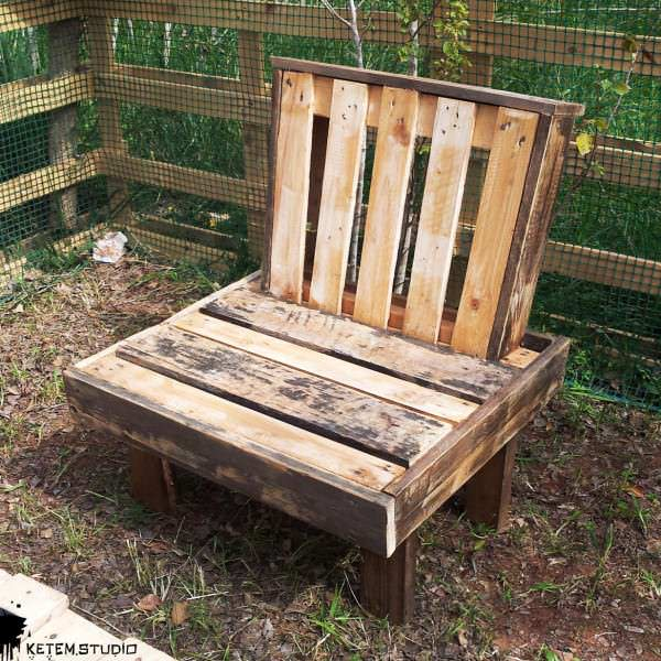 The Boss Garden Chair by Ketem Studio Pallet Benches, Pallet Chairs & Stools