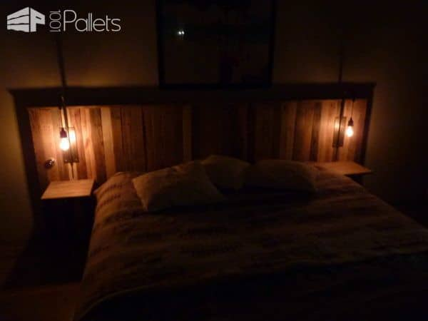 Pallet Bed Headboard With Lights / Tête De Lit En Palettes Et Appliques Pallet Beds, Pallet Headboards & Frames