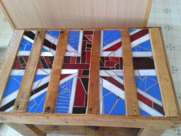 Upcycled Pallet Table With Mosaic Glass Pallet Desks & Pallet Tables