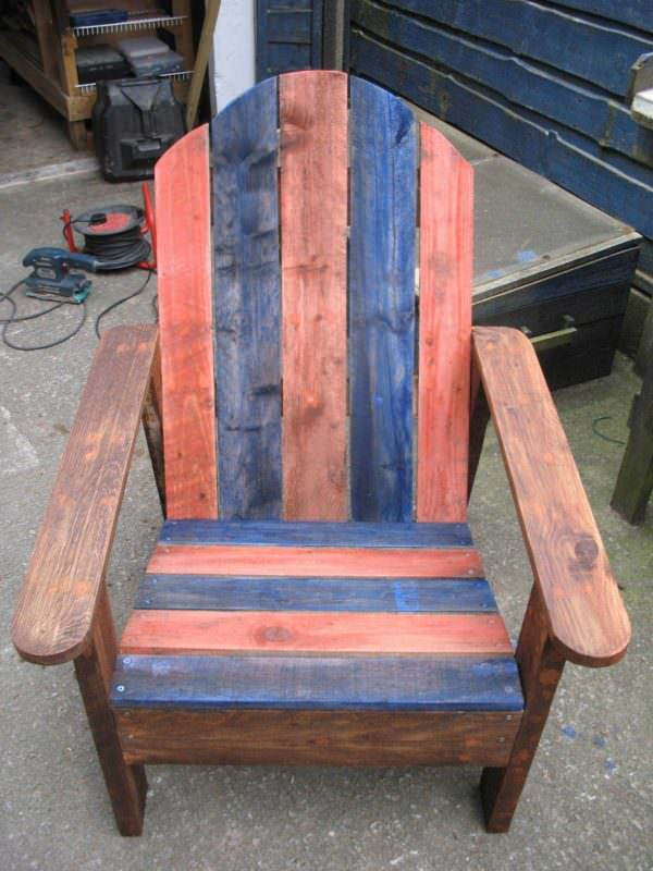 Adirondack Chair Made From Two Upcycled Pallets Pallet Benches, Pallet Chairs & Stools