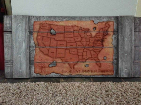 Map of America From Pallet Wood Pallet Wall Decor & Pallet Painting