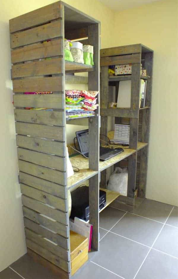 Meuble De Travail En Bois De Palette / Pallet Desk & Shelves Pallet Desks & Pallet Tables Pallet Shelves & Pallet Coat Hangers
