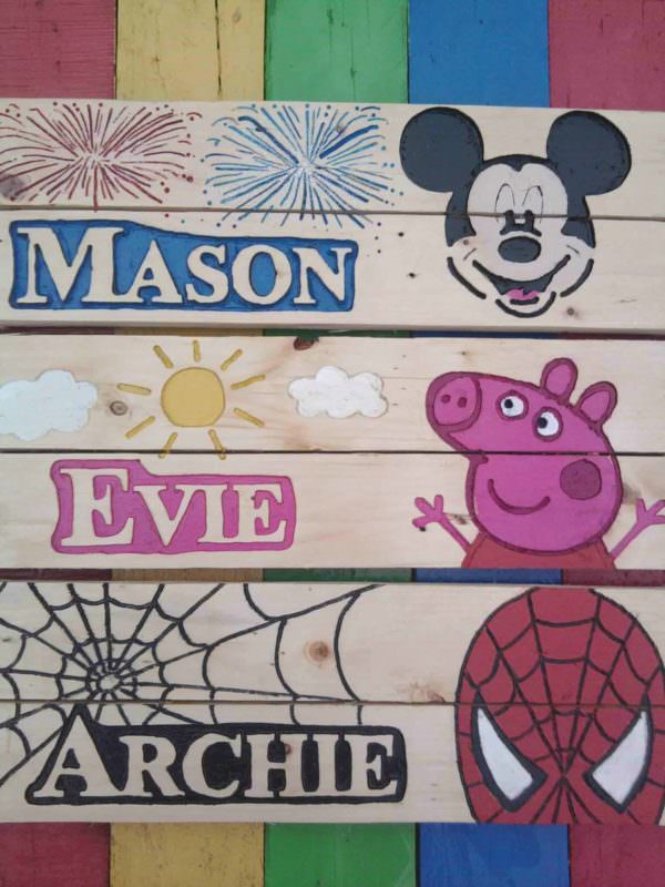 Personalised Bedroom Sign Fun Pallet Crafts for Kids Pallet Wall Decor & Pallet Painting