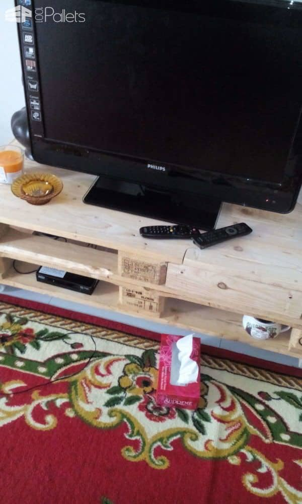Tv Cabinet With Auto Retractable Drawer Out of 2 Pallets Pallet TV Stands & Racks