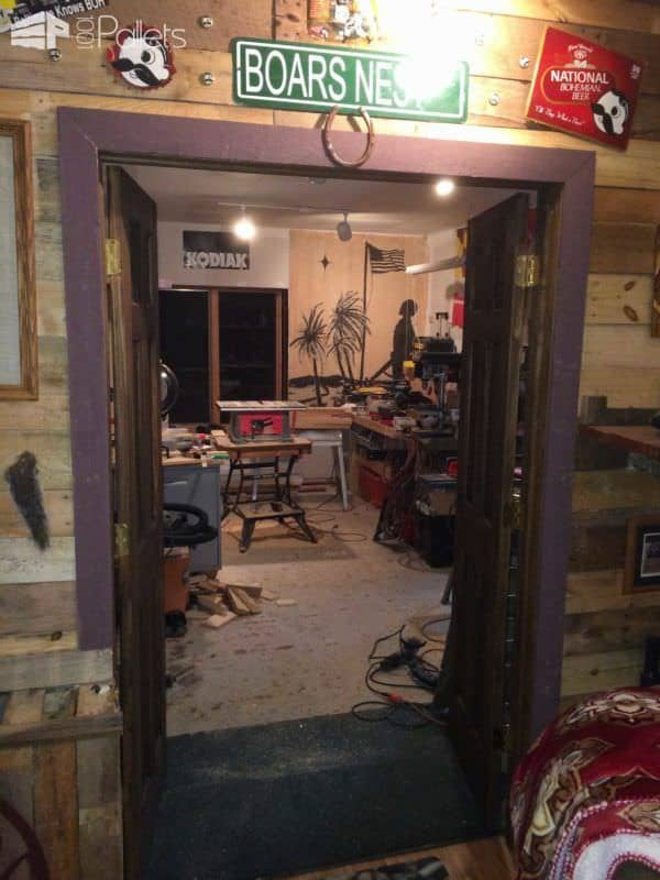 Basement Partition Wall Out of Pallets Pallet Walls & Pallet Doors