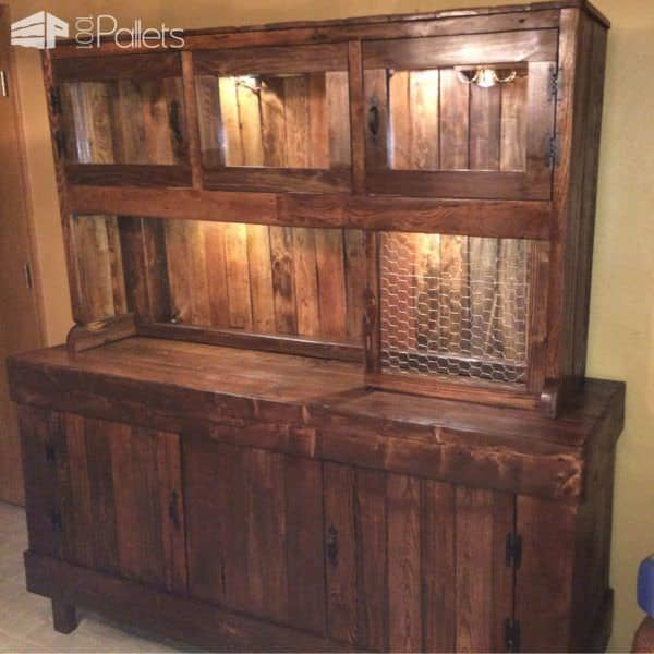 Reclaimed Pallet Wood Country Hutch Pallet Cabinets & Wardrobes