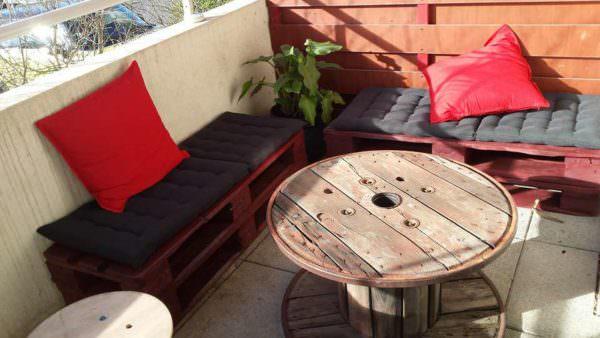Salon De Balcon / Balcony Pallet Lounge Set Lounges & Garden Sets Pallet Benches, Pallet Chairs & Stools