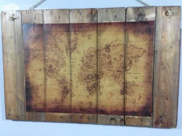 Old Map Wall Art Pallet Wall Decor & Pallet Painting