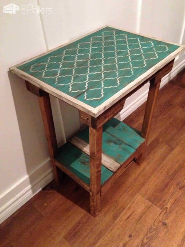 Shabby Chic Accent Table From Repurposed Pallets Pallet Desks & Pallet Tables