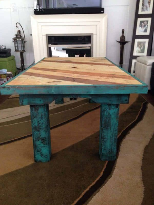 Teal Coffee Table Made From Reclaimed Pallets Pallet Coffee Tables