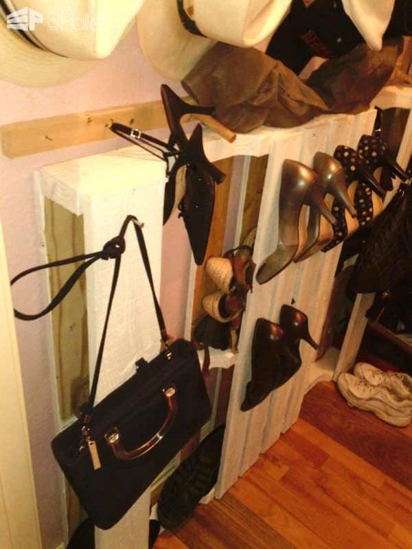 Entertainment System & Shoe Accessory Rack Pallet Shelves & Pallet Coat Hangers
