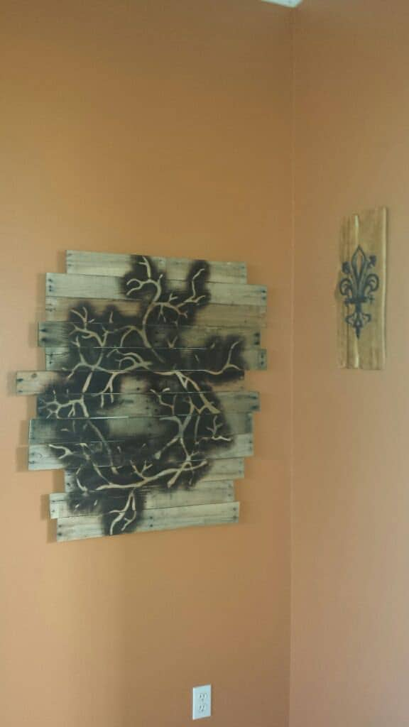 Pallet Frame With Torch & Stencil Drawing Pallet Wall Decor & Pallet Painting