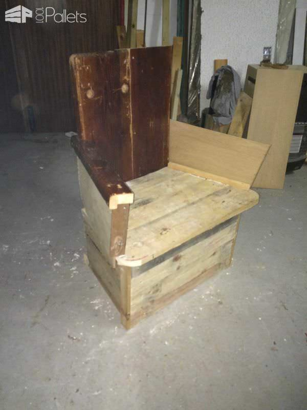 Story Telling Chair From Old Gym Bench & Reclaimed Pallet Wood Pallet Benches, Pallet Chairs & Stools