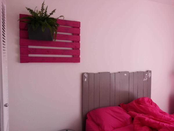 Tête De Lit Et Porte-jardinières / Pallet Bed Headboard & Wall Planter Holder Pallet Beds, Pallet Headboards & Frames
