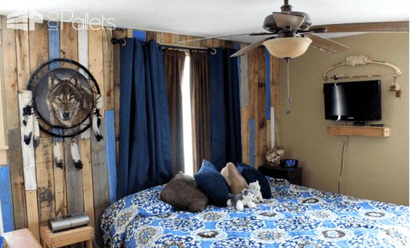 Distressed Vertical Pallet Bedroom Wall Pallet Walls & Pallet Doors