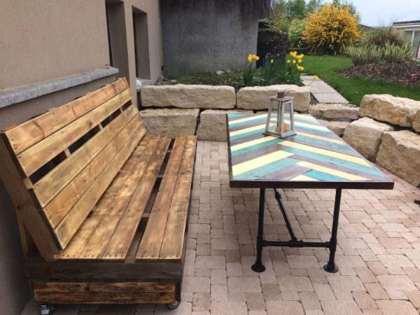 Terrace Pallet Bench & Table Lounges & Garden Sets Pallet Terraces & Pallet Patios