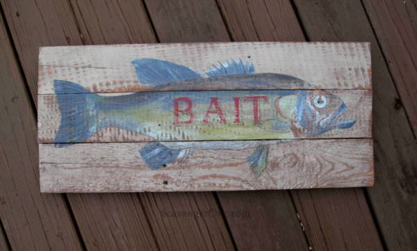 Vintage Style Fish Bait Sign Pallet Wall Decor & Pallet Painting