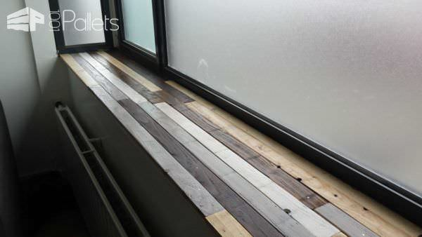 Windowsill Made Of Recycled Pallets Pallet Shelves & Pallet Coat Hangers Pallet Walls & Pallet Doors