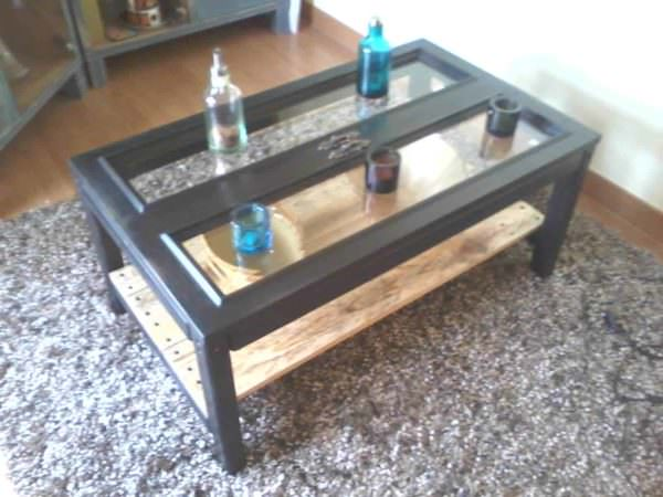 Cabinet Doors & Pallets Repurposed Into A Coffee Table Pallet Coffee Tables