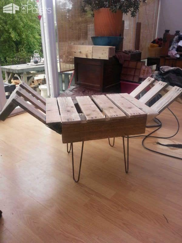 Retro Style Indoor Bench From Upcycled Pallet & Steel Pallet Benches, Pallet Chairs & Stools