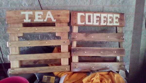 Coffee or Tea Mug Hooks Pallet Shelves & Pallet Coat Hangers